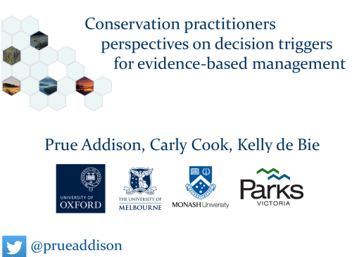 Conservation practitioners perspectives on decision triggers for evidence-based management